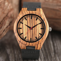Wholesale making gift tags - Men's Brown Zebra Pattern Wood Watch Nature Hand-made Bamboo Wooden Quartz Wristwatc Black Genuine Leather Band for Men Casual Best Gift