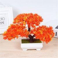 kaliteli bonsai toptan satış-Mini Yaratıcı Bonsai Ağacı Yapay Bitki Dekorasyon Solmaz Yok Sulama Saksı Ofis Ev için Yüksek Kaliteli Ev Dekorasyon