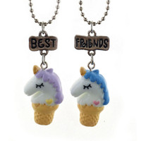Wholesale Sets For Children - 2018 hot sale 2 Pieces Per Set Unicorn Pendant Necklaces For Children Girls Best Friend Friendshipe Necklace Chain Jewelry 162662