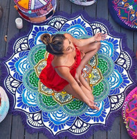 Wholesale persian style - Colorful Round Bath Towel 150cm 3D Digital Printed Unicorn Towel Beach Tapestry Hippie Throw Yoga Mat Home Carpets