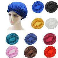 Wholesale satin grey hat for sale - Group buy Women Sleep Cap Satin Night Bonnet Head Cover Beanie Hat Hair Beauty Elastic New