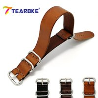 Wholesale nato leather strap - TEAROKE ZULU Leather Watchband NATO Watch Band Strap 18mm 20mm 22mm Sliver Ring Buckle Men Women High Quality Watch Accessories