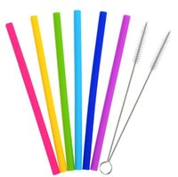 Wholesale food grade silicone hose for sale - 500pcs Creative Fashion Home Food Grade Silicone Straw Silicone Hose Straight Tube Environmental Silicone Tube Recyclable