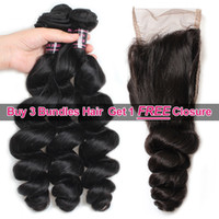 Wholesale free big natural - Ishow Hair Big Spring Sales Promotion Buy 3 Bundles Brazillian Loose Wave Unprocessed Peruvian Human Hair Get One Free Closure Free Part