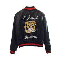 casacos de moto feminina venda por atacado-Moda Faux Leather Jaqueta Bomber Mulheres Tigre Cabeça Bordado Curto Motocicleta Jaqueta De Couro Pu Outerwear Casaco Das Mulheres