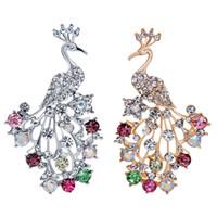 acessórios de cores de pavão venda por atacado-Elegante Multi Color Rhinestone Pavão Broches Animais Para As Mulheres de Casamento E Festa de Jóias Acessórios Nupcial Broches Pinos