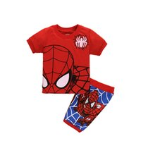 Wholesale years boys red white clothes for sale - Boys Red Spiderman Clothes Clothing Set Summer Short Cotton T shirt Pants Two pieces Student Birthday age years