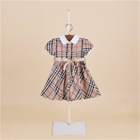Wholesale Plaid Tutu - 2018 kids clothes Girls summer models dress princess skirt short-sleeved plaid children's dress child dress