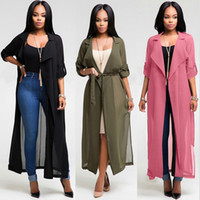 Wholesale ladies long dress coats - 2018 Summer Women Bikini Blouse Beach Cover Up Fashion Long Sleeve Cardigan Chiffon Shirt Dress 3 colors ladies Loose Coat