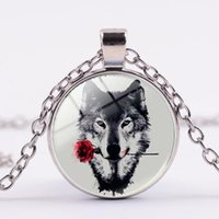 Wholesale wolf pendant necklace women - Rose Wolf Glass Cabochon Necklace Silver Gold Bronze Pendant Chains Time Gemstone Fashion Jewelry for Women Gift DROP SHIP 162595