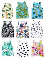 camiseta de frutas al por mayor-Los niños pequeños niños niñas tanque chaleco tops fruta sandía piña hoja flor impresión completa niños bebé camiseta