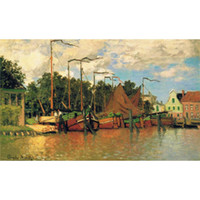 Hand painted Landscapes art Boats at Zaandam Claude Monet oil paintings for Home decor