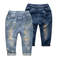 Wholesale boys elastic waist jeans - INS kids denim pants 2018 Fashion children Hole jeans baby boys girls Trousers slim casual pants C4582