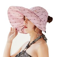 15b6ecb2467 Fashion Dots Summer Hats for Women Travelling Headwear Beach Caps Visors  Chapeau Panama Sun Hat Girls Cap Lady Wide Brim Topee
