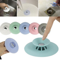 Wholesale kitchen drain stopper - Bathroom Kitchen Drain Stopper Plug Bathtub Strainers Sink Filter Covers Silicone Tub Grips Hair Catcher 5 Colors NNA371