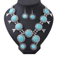 Wholesale Western Necklaces - Bohemia turq nature Necklace earring set jewelry Women Antique Silver big pendant Necklace jewelry western Africa boho wholesale