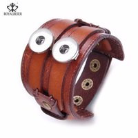Wholesale leather bracelets resale online - ROYALBEIER Leather Cuff Double Wide Bracelet Rope Bangles for mm Snap Buttons Men Fashion Man Bracelet Unisex Jewelry Gift