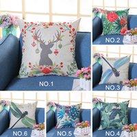 diseños de fundas de cojines impresas al por mayor-Funda de cojín de nuevo diseño Dragonfly Deer Elk Floral Leaves Printing Linen Throw Pillowcase Christmas New Year Gifts Pillow Case