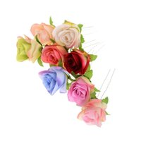 Wholesale u hair sticks pins clips for sale - Group buy 5Pcs Fashion Bridal Bridesmaid Rose Flower Resin Alloy U shaped Hair Pins Wedding Hair Clips Sticks Head Accessories Jewelry