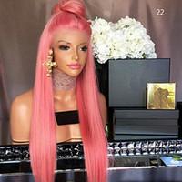 pelucas de pelo negro para la venta al por mayor-Top venta Cosplay rosa largo sedoso recto peluca de encaje a prueba de calor de alta calidad pelo sintético sin cola pelucas delanteras del cordón para mujeres negras