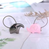 Wholesale wholesale elephant keychains - 1pcs Cartoon Cute Elephant Design Keychain Zinc Alloy Suit Lovers Couple Keys Ring Multicolor Mini Charms For Valentine Day Gift 3 8jh Z