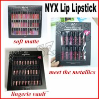 Wholesale nyx lip lingerie sets online - NYX SOFT MATTE LIP CREAM II nyx lingerie vault Set Sofe Velvet Lip Makeup colors set Meet The Metallics Vault