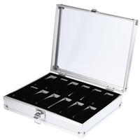 kutu kutuları toptan satış-Bilek İzle Ekran tutucu Kutusu Alüminyum konteyner 12 Izgara Takı izle Depolama Tutucu Organizatör Vaka Kalite