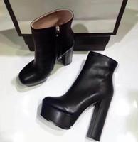 botas pretas de 14 cm venda por atacado-2017 New Black Couro Genuíno Dedos Apontou Ankle Boots Botas Das Mulheres Designer de Senhoras Sexy Red Bottom High Heels Sapatos de Bombas 14 cm