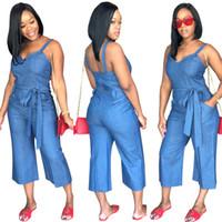 ingrosso tuta più i formati vendita delle donne-Salopette di jeans Vendita calda Jeans estivi da donna Tute e pagliaccetti di jeans Casual blu chiaro aderente aderente Taglie forti con cintura