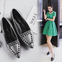 Wholesale Medium Documentary - Hot Selling Fashion Cinderella Rivets pointed toes Flat documentary shoes Rhinestone chunky heel leather shoe bridesmaid wedding shoes