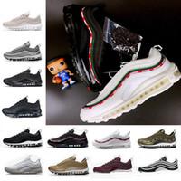 melhores sapatos para homens brancos venda por atacado-Best New Mens Sneakers Shoes clássico 97 Homens Running Shoes Preto Branco Trainer Air Cushion Respirável Homem Caminhadas Calçados Esportivos Eur 36-46