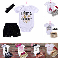 Wholesale cute baby clothes - baby clothing girl Kids sets Cotton short sleeve romper paillette short headband causal summer girl romper set girl clothes