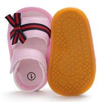 bebek deri ayakkabıları lastik tabanlar toptan satış-Yeni Moda PU Deri Ilk Yürüyüşe Yenidoğan Bebek Kız Prenses Elimden Yay Çocuk Ayakkabıları Kauçuk Taban Açık Bebek Ayakkabı