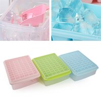 Wholesale ice cube tray plastic - 55  66 Grids Ice Cubes Tray Molds With Lid And Scoop Plastic Pp ,Frozen Ice Preservation Box Whiskey Jelly Maker Blue