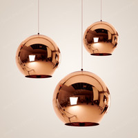 goldkugel deckenleuchte großhandel-Glass Globe Ball Pendelleuchte Kupfer Silber Gold Beleuchtung Runde Decke Hängelampe Globe Lampenschirm Pendelleuchte
