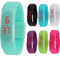 прекрасные мальчики оптовых-Movement LED silicone bracelet child boys and girls children watch jelly color electronic student couple fine quartz expression with explosi