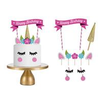 Wholesale plastic unique for sale - Unique set Unicorn Shape Design Happy Birthday Theme Cake Decor For Kids Lovers Party Fun Cakes Decoration Flag New Arrival hy Z