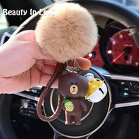 cony brown bear Australia - Cartoon Rilakkuma Bear Brown Bunny Cony Animal Kiki Keychain Women Fur Pom pom Metal Key Chains Car Bag Pendent Charm D71
