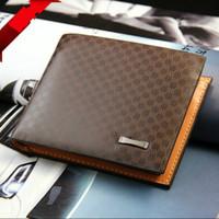 Wholesale Tartan Purse Wholesale - 2015 Male Genuine Leather luxury wallet Casual Short designer Card holder pocket Fashion Purse wallets for men free shipping 74