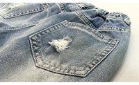 intervalos de luz venda por atacado-Moda nova calça jeans crianças desgaste jeans crianças menina queda moda 2017 luz casual buraco quebrado coreano meninas Coringa crianças jeans