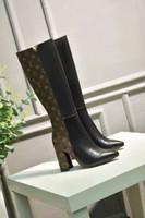 ingrosso borse per gambe-scarpe da donna tacco alto stivali lunghi impermeabili in pelle colore puro, fibbia e borsa varie