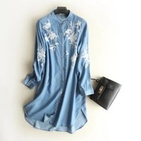62e3304dca5 2018 women clothing long sleeve stand collar floral embroidery washed denim  shirt dress Female fashion casual loose mini jean dresses S2785