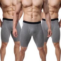 männer sexy beine großhandel-Sexy Männer Unterwäsche Baumwolle Boxershorts Cuecas Solide Mittlere Taille U Konvexer Beutel Langes Bein Höschen Männliche Unterhose Calzoncillos