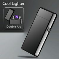 encendedores de cigarrillos usb recargables de arco al por mayor-Nuevo Doble ARC Encendedor USB Eléctrico Plasma Recargable A Prueba de Viento Encendedor sin llama Encendedor de carga de cigarrillos encendedores usb