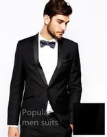 slim costume noir ajusté achat en gros de-Classique Hommes Costumes 2018 Personnalisé Noir Slim Fit Hommes Costumes Marié Mariage Smokings Costume D'affaires (Veste + Pantalon + Cravate)