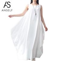 Vestidos de lino blanco para mujeres