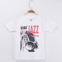 Wholesale Jazz Kids Clothes - 2018 Hot Sale Children Clothing Kids T-shirt Jazz Festival Print 100% Cotton Boys Short Sleeve T Shirts Baby Girl Clothes Tops Child Tees
