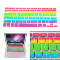 protector for macbook wholesale-Silicone Keyboard Cover Gradient Rainbow Patten Keyboard Skin Protector Covers For Macbook Pro Air 13 15 17