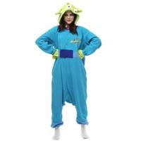 juegos de pijama al por mayor-Adulto Polar Fleece Alien Kigurumi para el Carnaval de Halloween Fiesta de Año Nuevo de bienvenida Envío de la gota