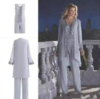 2019 Mother Of The Bride Three-Piece Pant Suit Lace Chiffon Beach Wedding Mother's Groom Dress Long Sleeve Wedding Guest Dress BA6571